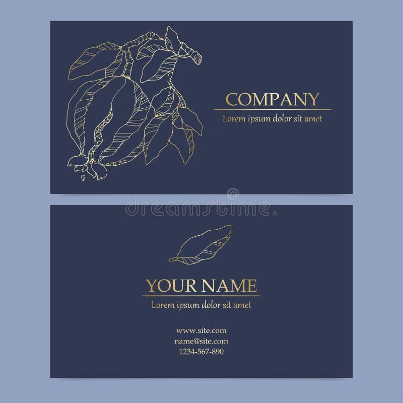 Elegant Template Luxury Business Card med granatillustration stock illustrationer