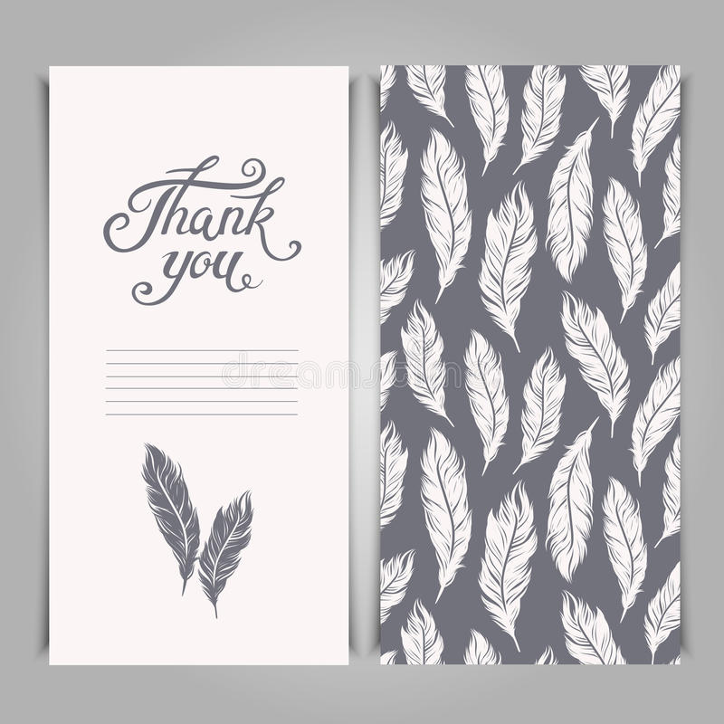 Elegant Thank You card template with silver feathers symbols stock illustration