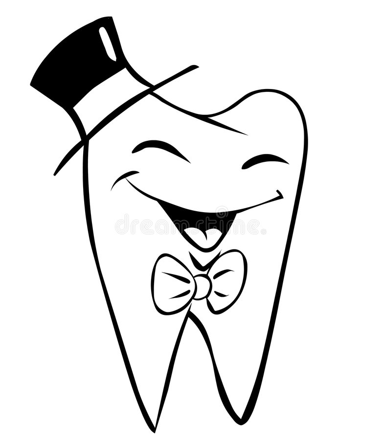 Elegant tooth. Cartoon smiling tooth smartly dressed vector illustration