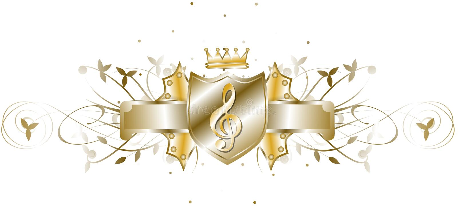 Elegant treble clef on shield isolated. Image representing an elegant treble clef, usable for t shirt design, decorations or music projects vector illustration