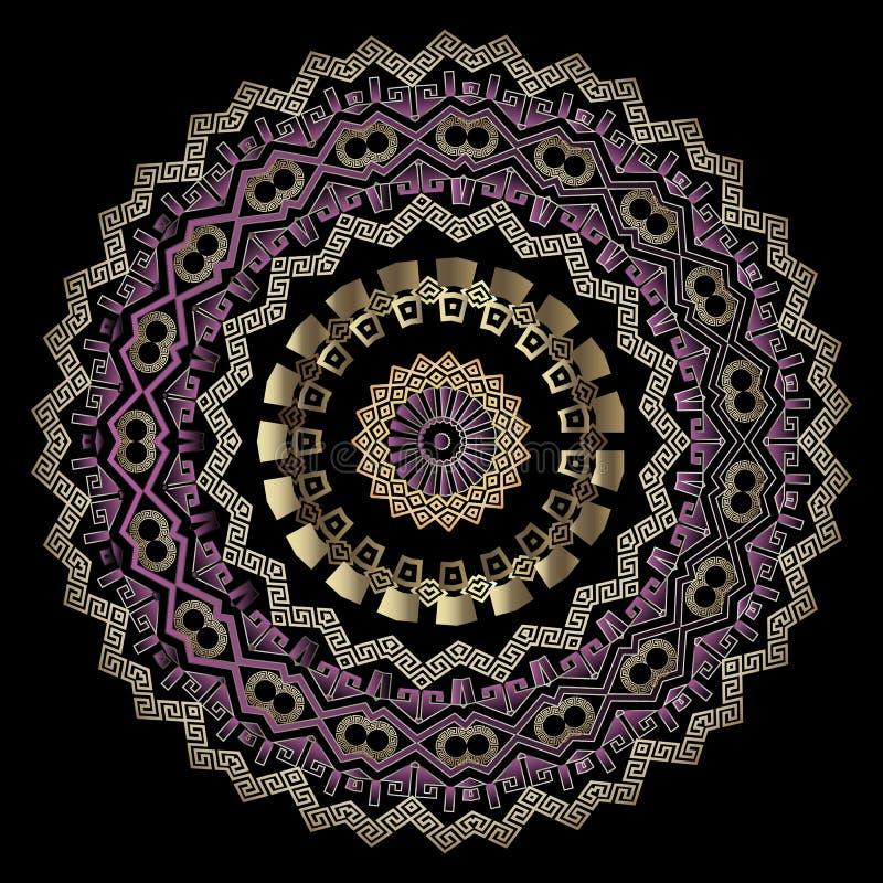 Elegant tribal ethnic style greek vector mandala pattern. Zigzag ornament. Round decorative geometric design. Greek key. Meanders, circles, zig zag lines royalty free illustration