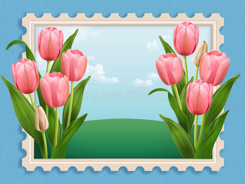 Elegant Tulip bed. Elegant floral scenery stamp in 3d illustration isolated on blue background royalty free illustration