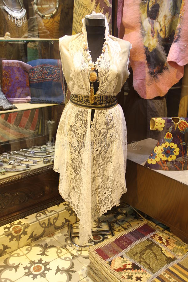 Elegant turkish lace on costume royalty free stock images