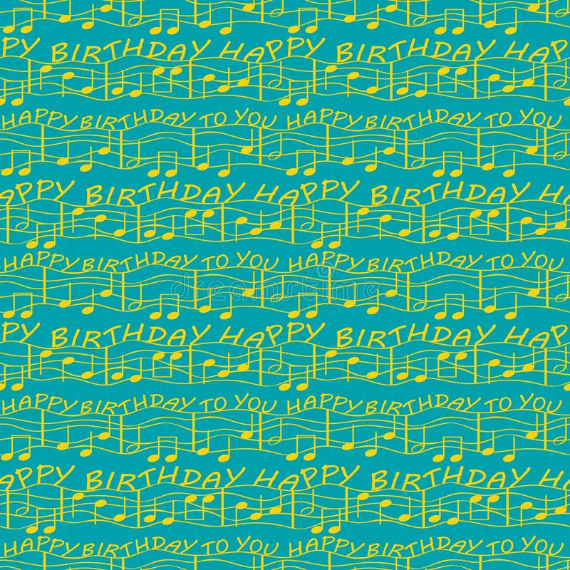 Elegant two tone birthday congratulations with musical notes. Seamless vector pattern in bright ocean blue and gold with royalty free illustration