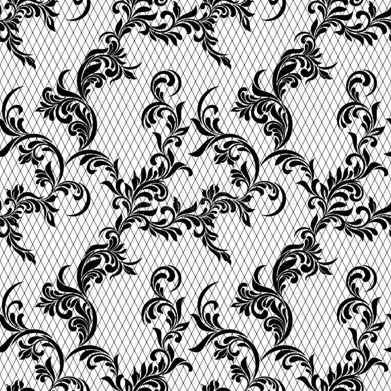 Elegant uitstekend naadloos patroon Bloemenornament op de achtergrond van het net stock illustratie
