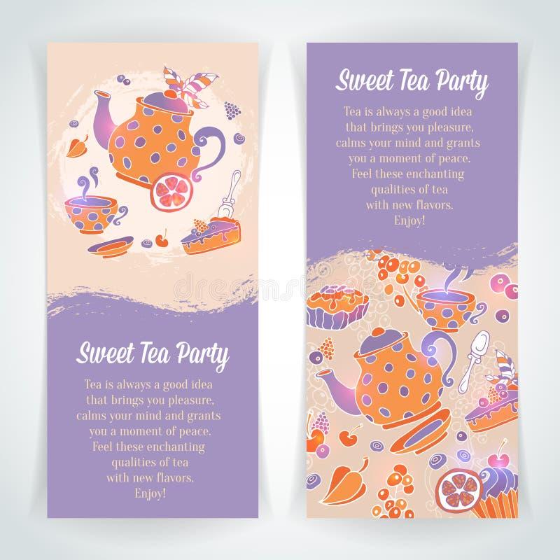 Elegant uppsättning av hand drog te- och kakabaner stock illustrationer
