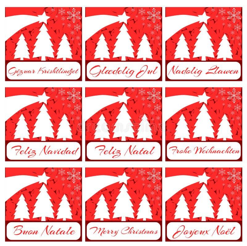 Elegant uppsättning av julhälsningkortet i rött royaltyfri illustrationer