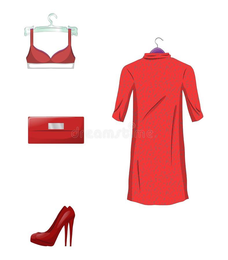 Elegant uppsättning av kvinnligkläder och tillbehör i röd färg bakgrund isolerad white också vektor för coreldrawillustration stock illustrationer