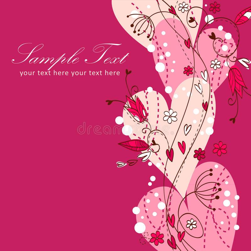 Elegant Valentine love floral postcard. With hearts and flowers vector illustration