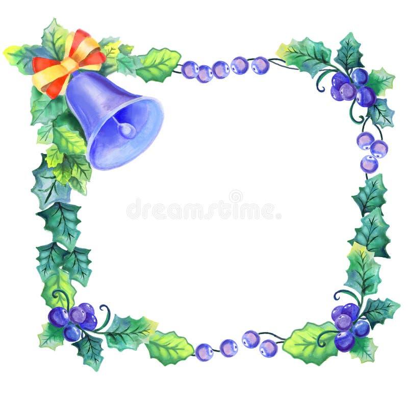 Elegant vattenfärgkrans med blåbär, sidor och klockan stock illustrationer