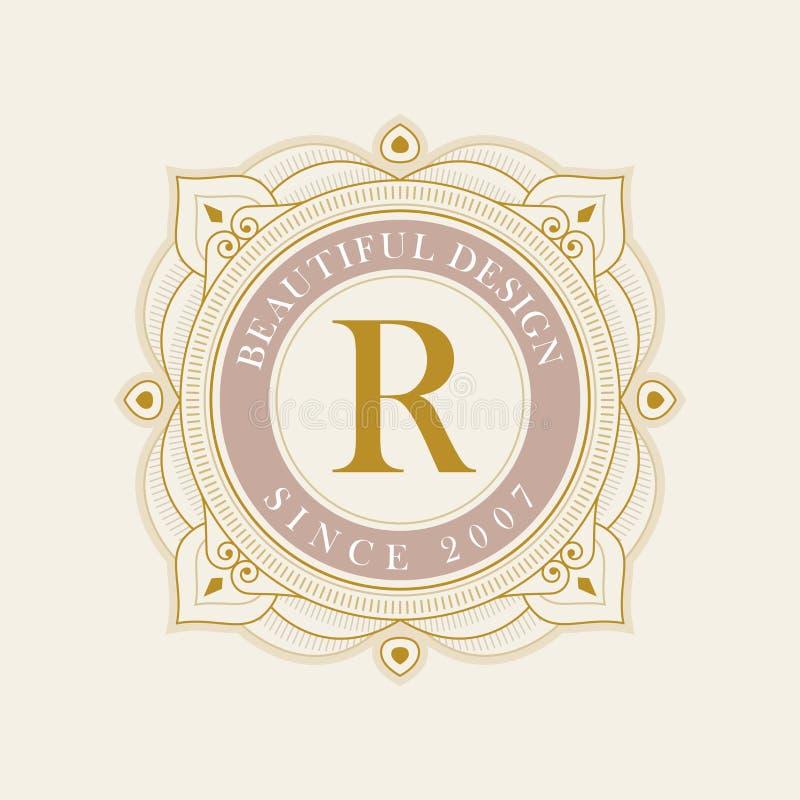Flourishes Calligraphic Monogram Emblem Template Stock