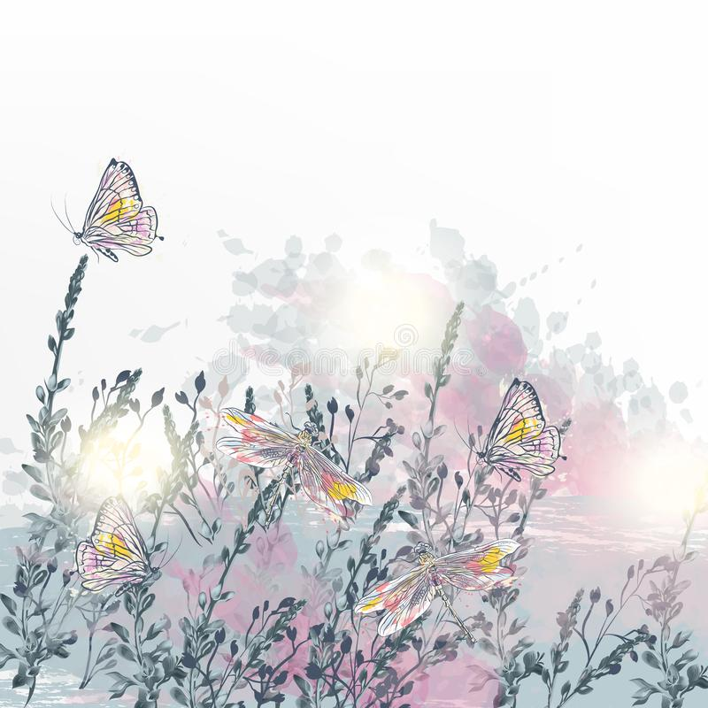 Elegant vector floral illustration with dragonfly, butterflies and flowers. Soft pink, purple and blue colors vector illustration
