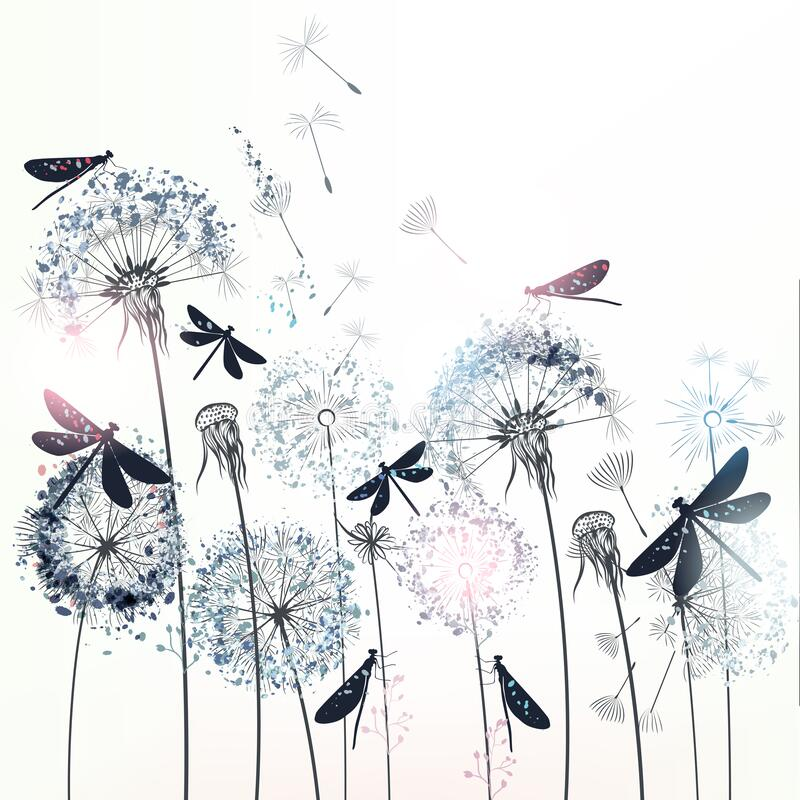 Free Elegant Vector Illustration With Dandelions And Dragonflies Royalty Free Stock Images - 170656309