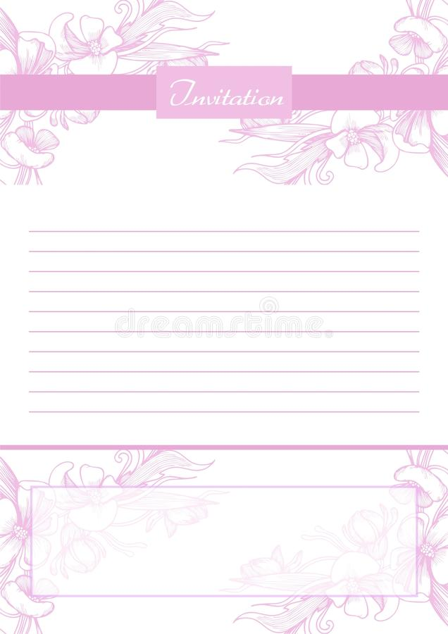 Elegant vector invitation card with blank space royalty free illustration