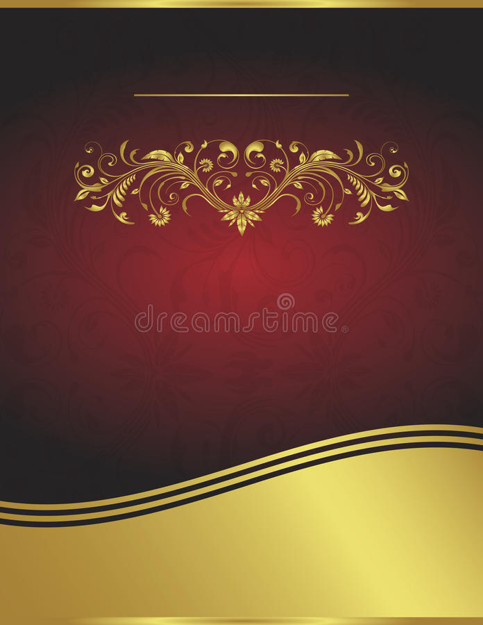 Elegant Vector Red and Gold Background Template vector illustration