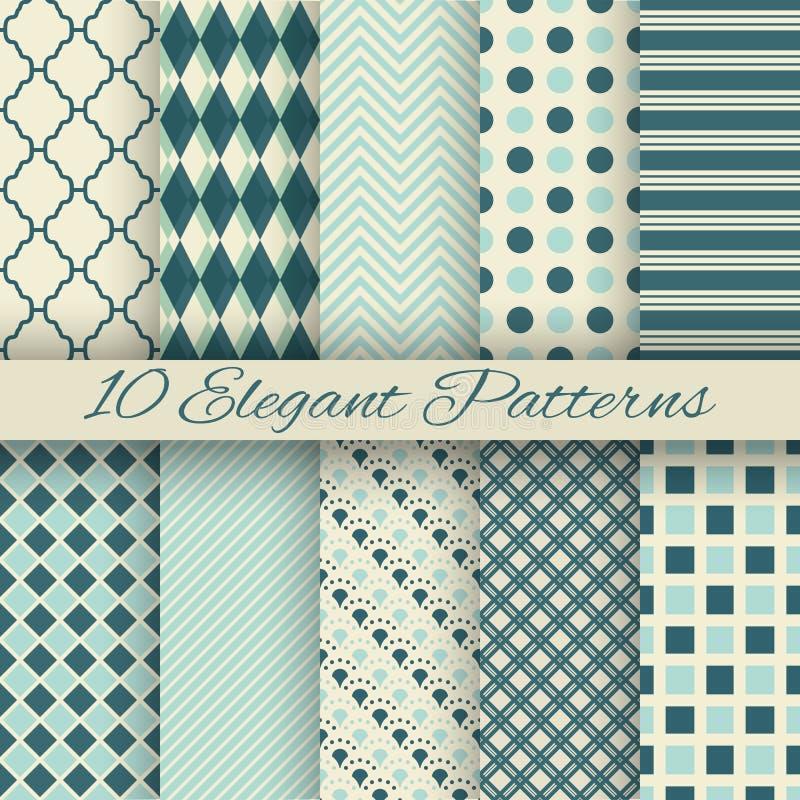 10 Elegant vector seamless patterns (tiling) royalty free illustration
