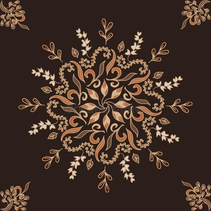 Elegant vectorornament cirkel bloemen bruin patroon Abstract traditioneel patroon met oosterse elementen royalty-vrije illustratie