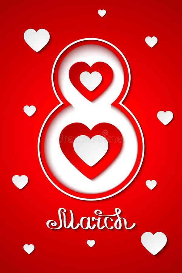 Elegant vektor 8 marscherar internationella kvinnors kortet för hälsningen för dag det röda stock illustrationer