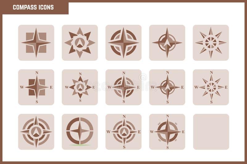 Elegant vektorkompassuppsättning royaltyfri illustrationer