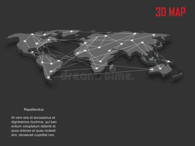 Elegant vektorvärldskarta för grå färger 3d vektor illustrationer