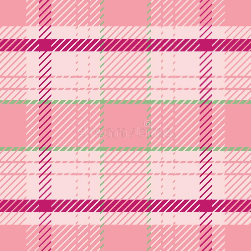 Elegant vibrant tartan plaid pattern in summery pink and green tones. Seamless sophisticated vector design. Perfect for royalty free illustration