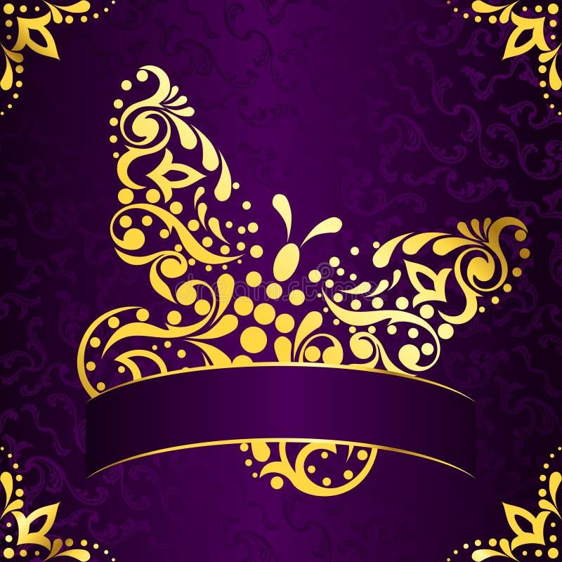 Elegant vierkant Pasen frame in purper en gouden vector illustratie