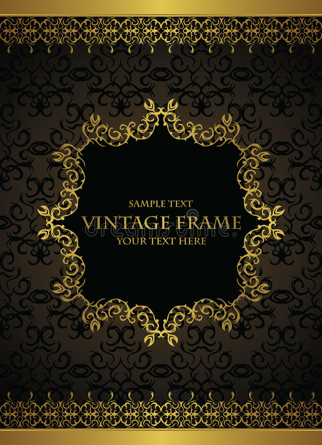 Elegant vintage background with a gold frame stock illustration