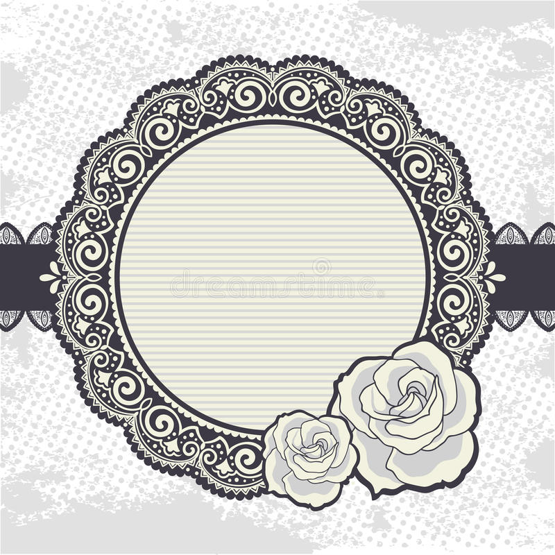 Elegant Vintage lace frame with the roses stock illustration