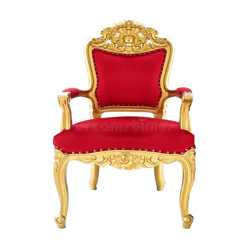 Elegant vintage red gold glittering chair, isolated on a white background. Mobile photos royalty free stock photography