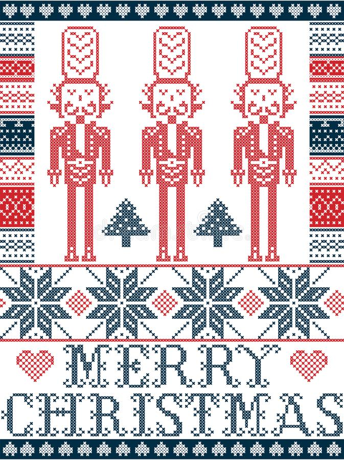 Elegant Vrolijk de winterpatroon van de Kerstmis Skandinavisch, Noords stijl met inbegrip van sneeuwvlok, hart, notekrakermilitai royalty-vrije illustratie