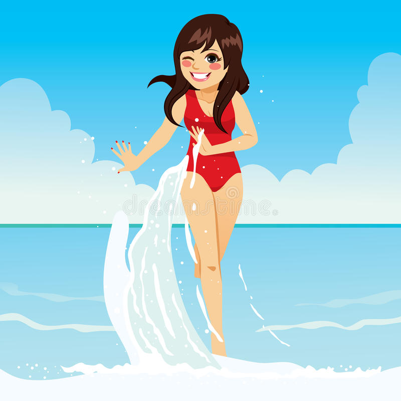 Elegant vrouwelijk strand vector illustratie