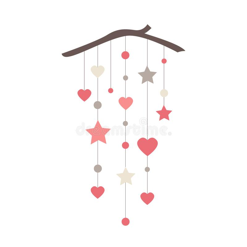 Elegant wall hanging banner with stars, hearts, and circles. Everyday or Valentine day vector decoration. vector illustration