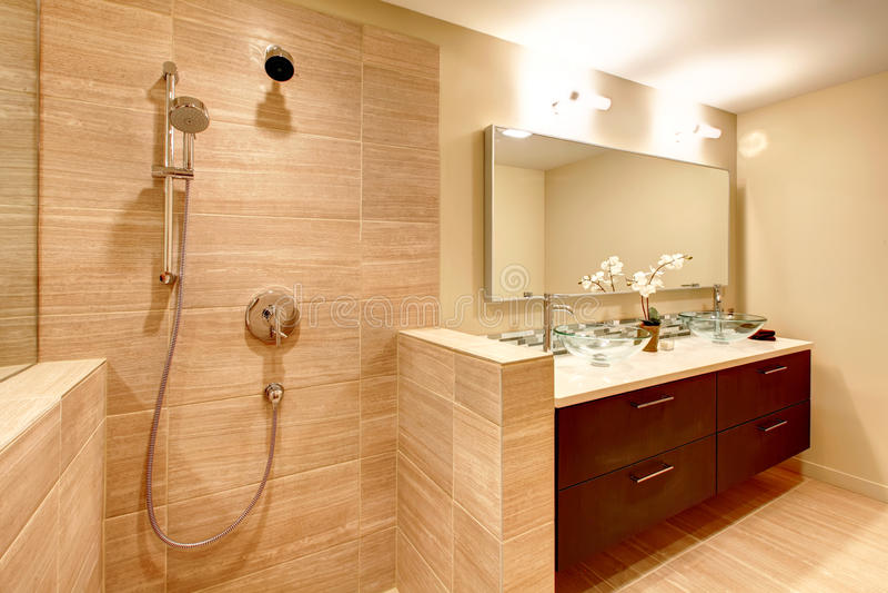 Download Elegant Warm Tones Bathroom Stock Image