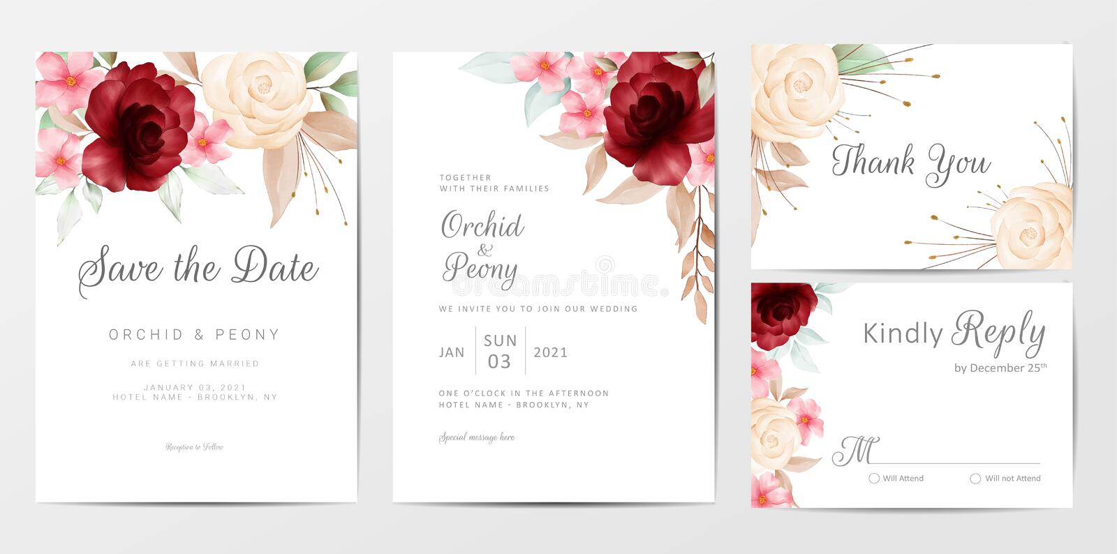 Elegant watercolor flowers wedding invitation cards template set. Fully editable vector template, save the date, invitation, greeting, thank you, and rsvp royalty free illustration