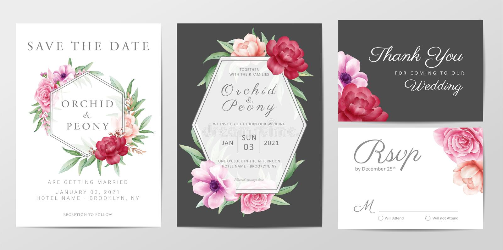 Elegant watercolor wedding invitation card template design set with roses flowers vector. Invitation, Greeting, Save the Date, Thank You Cards Editable vector royalty free illustration