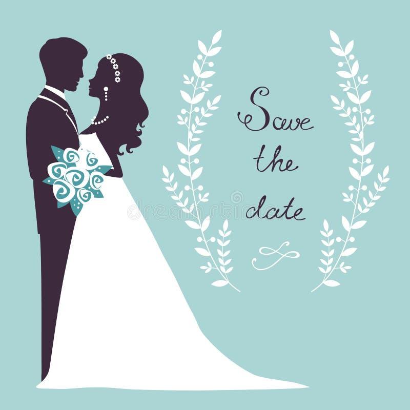 Elegant wedding couple in silhouette vector illustration