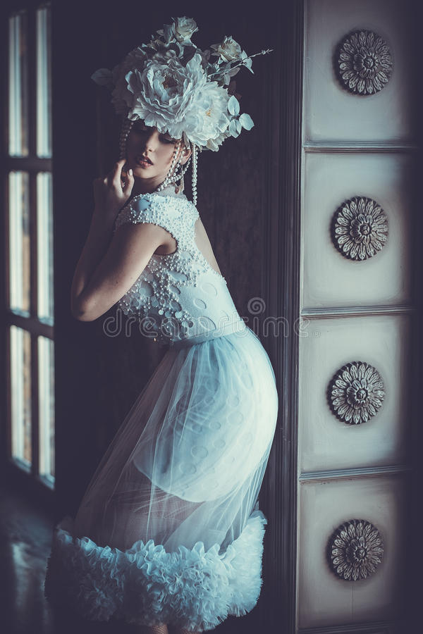 Elegant wedding dress and crown. Gorgeous woman. Tender bride in royalty free stock photography