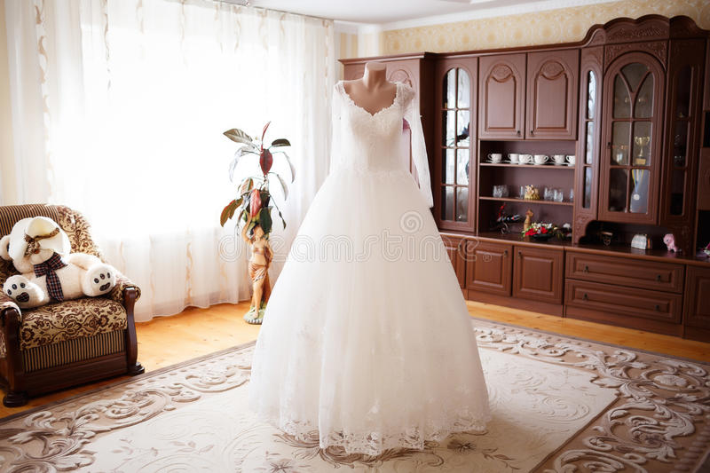 Elegant wedding dress stock photography