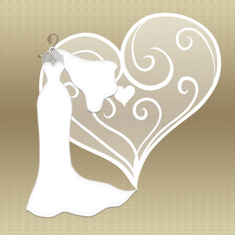Elegant wedding dress with a veil on a gold hanger on a background of gold and a patterned heart stock photos