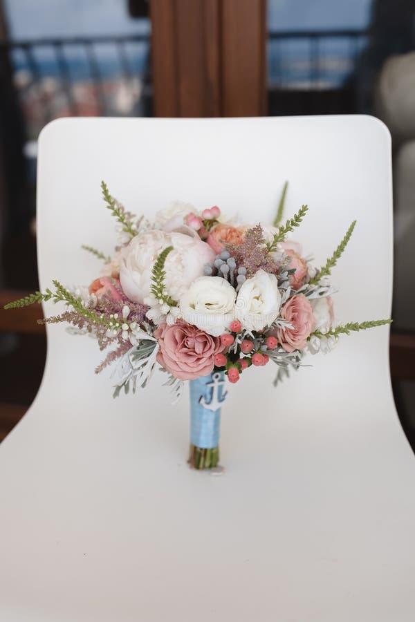 Elegant wedding flower bouqet on texture background royalty free stock photos