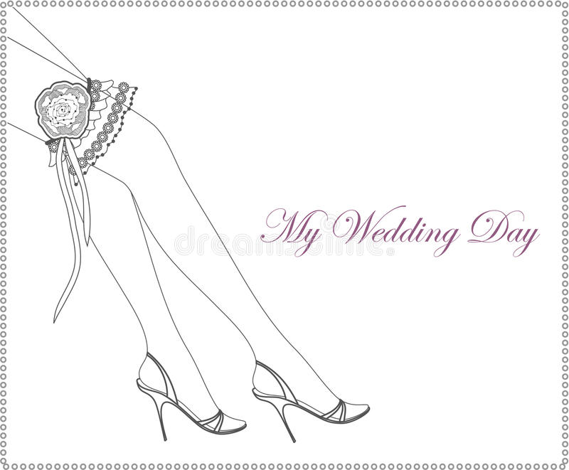 Download Elegant Wedding Invitation With Bridal Garter Stock Vector - Image: 16401728