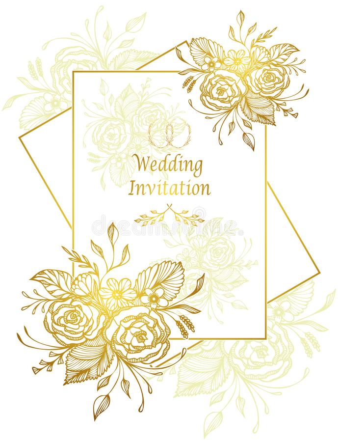 Elegant Wedding Invitation card with flowers bouquet gold on white. Elegant Wedding Invitation card or Template with hand drawn flowers bouquet gold on white vector illustration