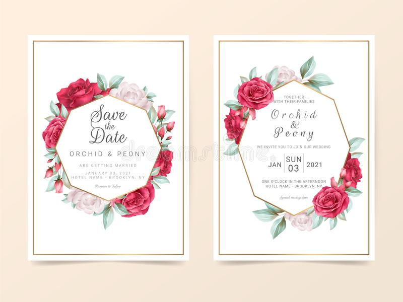 Elegant wedding invitation card template with watercolor floral. Luxury wedding cards of flowers and golden decoration. Vector vector illustration