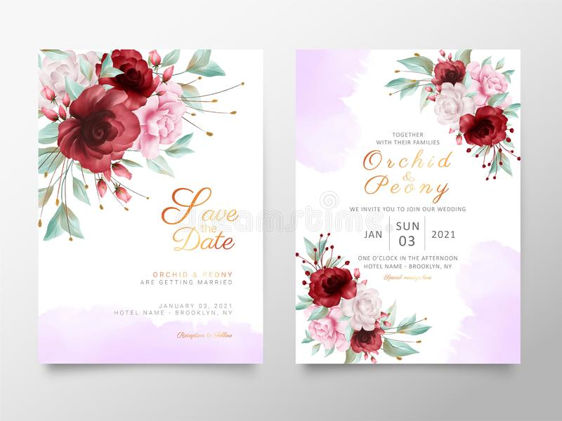 Elegant wedding invitation cards template with flowers and watercolor background. Textured surface background decoration. Vector royalty free illustration