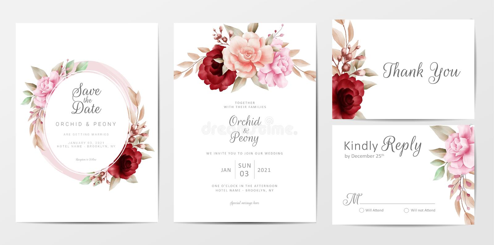 Elegant wedding invitation cards template set with watercolor flowers decoration. Fully editable vector template save the date, invitation, greeting, thank you royalty free illustration