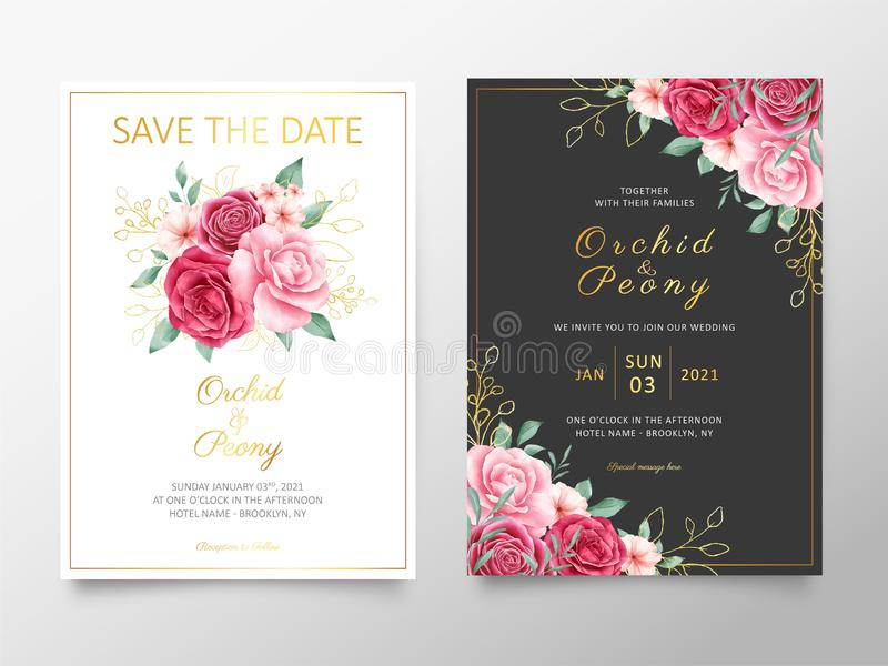 Elegant wedding invitation cards template with watercolor flowers bouquet. Botanic decorative save the date, greeting, thank you,. Rsvp cards vector vector illustration