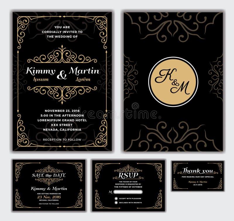 Elegant Wedding Invitation Design Template. stock illustration