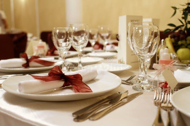 Elegant wedding party table stock photo