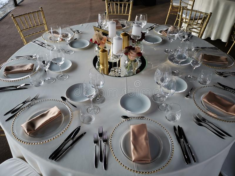Elegant wedding party table with decoration stock photos