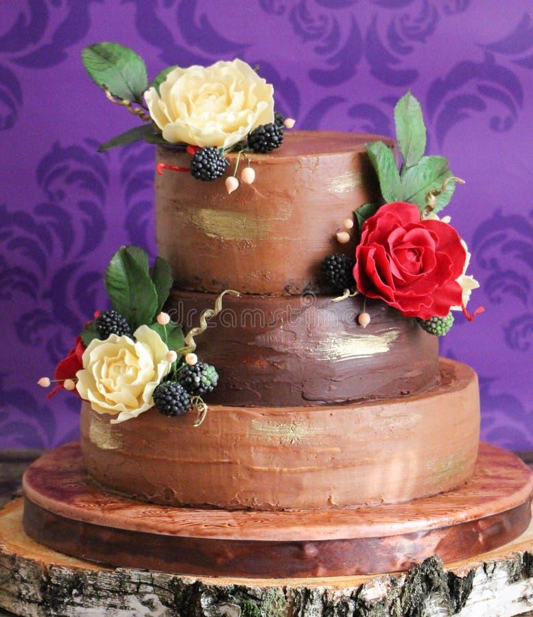 Elegant wedding rustic cake royalty free stock photos